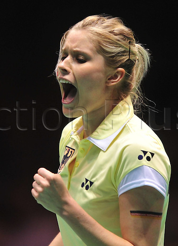 21.05.2012. Wuhan, China.  Carola Bott of Germany reacts After Scoring Against Renuga Veeran of Australia during The About Cup World Badminton team Championships in Wuhan Central China s Hubei Province ON May 21 2012 Germany Beat Australia 3 2