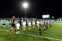 28th February 2020; Netstrata Jubilee Stadium, Sydney, New South Wales, Australia; A League Football, Sydney FC versus Western Sydney Wanderers; the teams walk onto the field for kick off