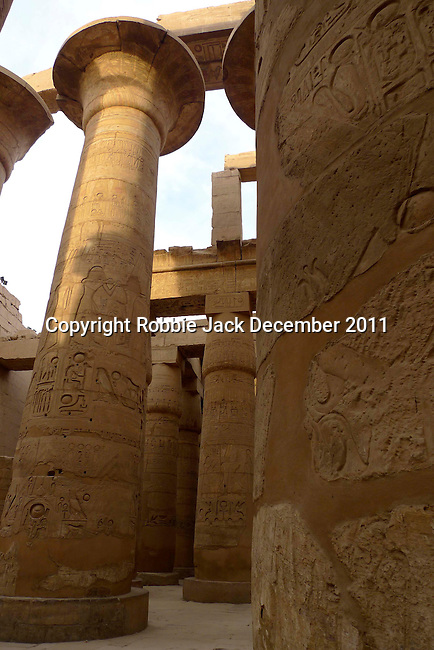 Columns in the Great Hypostyle Hall in the Precinct of Amun.The hall covers 50,000 sq ft.The roof which has now fallen was supported by 134 columns in 16 rows, the 2 middle rows are higher than the others being 33 feet in circumference and 80 feet high.The hall was built by the Pharaoh Seti I who ruled Egypt from 1290 or 1294 BC -1279 BC and was completed by his son the Pharaoh Ramesses II who ruled from 1279-1213 BC.  Karnak is part of the ancient city of Thebes ( built in and around modern day Luxor).The building of the Temple complex at Karnak began in the reign of the Pharaoh Senusret I who ruled Egypt from 1971 -1926 BC. Approximately 30 Pharaohs contributed to the building of the complex and in so doing made it the largest ancient religious site in the world. The ancient name for Karnak is Ipet-isut (Most select of places).
