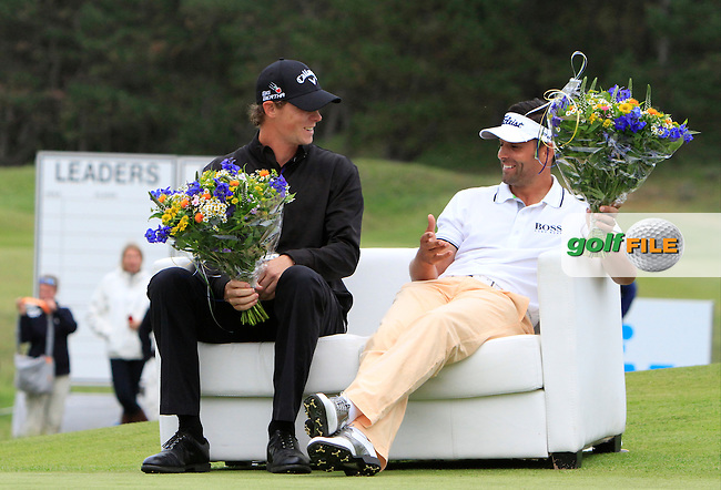 Thomas Pieters (BEL) winner of the 2015 KLM Open with Lee Slattery (ENG) at the Kennemer Golf &amp; Country Club in The Netherlands on 13/09/15.<br /> Picture: Thos Caffrey | Golffile