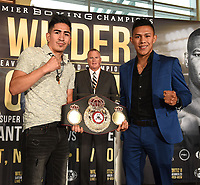 LOS ANGELES - SEPTEMBER 28: Leo Santa Cruz and Miguel Flores during a Los Angeles press conference for the November 23, 2019 Fox Sports PBC Pay-Per-View fight night at the MGM Grand in Las Vegas. (Photo by Frank Micelotta/Fox Sports/PictureGroup)