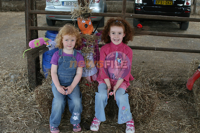 """Sophie and Kate Butler with their scarecrow  """"Spooky"""" at the Scarecrow Competition in Newgrange Farm...Photo NEWSFILE/Jenny Matthews.(Photo credit should read Jenny Matthews/NEWSFILE)....This Picture has been sent you under the condtions enclosed by:.Newsfile Ltd..The Studio,.Millmount Abbey,.Drogheda,.Co Meath..Ireland..Tel: +353(0)41-9871240.Fax: +353(0)41-9871260.GSM: +353(0)86-2500958.email: pictures@newsfile.ie.www.newsfile.ie.FTP: 193.120.102.198."""