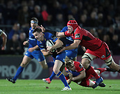 29th September 2017, RDS Arena, Dublin, Ireland; Guinness Pro14 Rugby, Leinster Rugby versus Edinburgh; Nathan Fowles (Edinburgh) and Grant Gilchrist (Edinburgh) tackle Johnny Sexton (Captain Leinster)