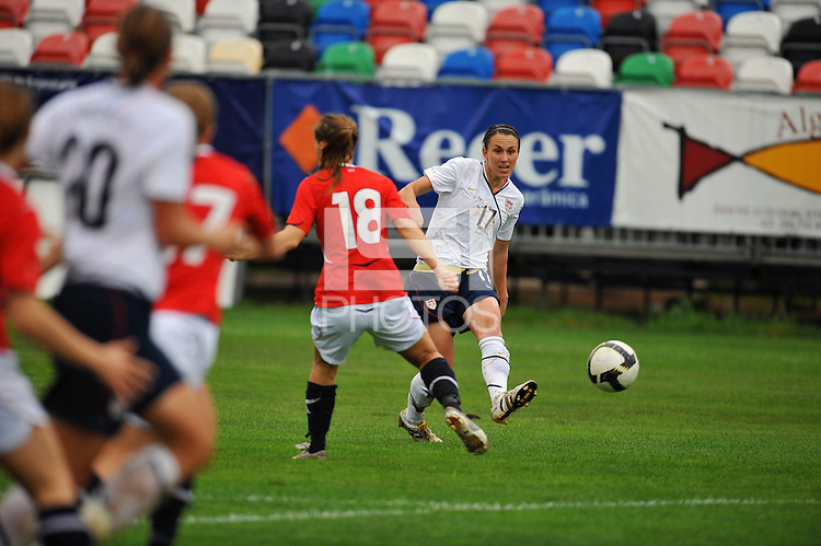 Meghan Schnur feeds the ball into the box. The USA defeated Norway 2-1 at Olhao Stadium on February 26, 2010 at the Algarve Cup.