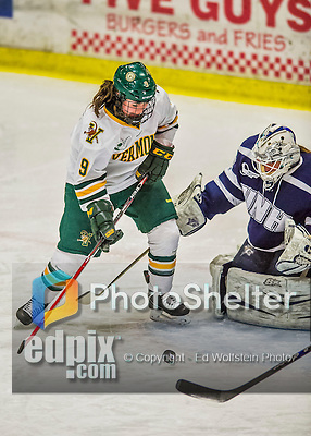 14 February 2015: University of Vermont Catamount Forward Dayna Colang, a Junior from Fairbanks, Alaska, in third period action against the University of New Hampshire Wildcats at Gutterson Fieldhouse in Burlington, Vermont. The Lady Catamounts rallied from a 3-1 deficit to earn a 3-3 tie in the final home game of their NCAA Hockey East season. Mandatory Credit: Ed Wolfstein Photo *** RAW (NEF) Image File Available ***