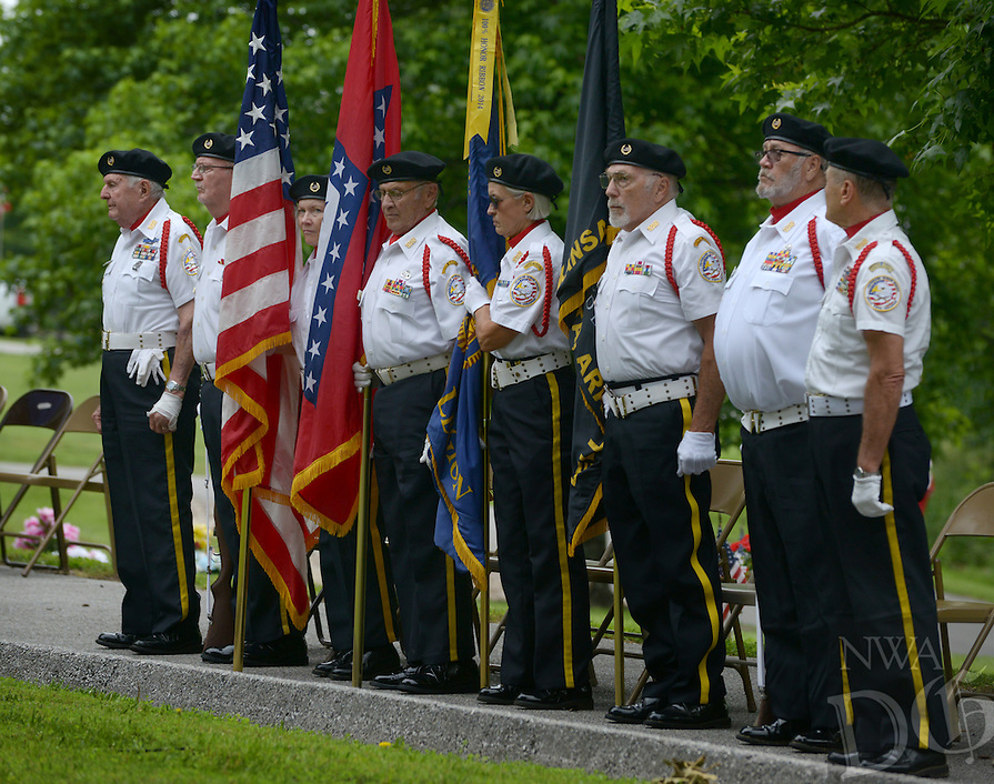 NWA Democrat-Gazette/BEN GOFF @NWABENGOFF<br /> The Veterans Honor Guard of Bella Vista takes part in the ceremony on Monday May 30, 2016 during the Memorial Day program presented by American Legion Post 341 at Bella Vista Memorial Garden Cemetery.