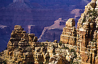 South rim view of Grand Canyons rocky formations in Arizona, USA
