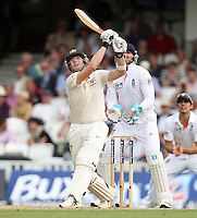 Steven Smith of Australia hits a 6 to complete his century - England vs Australia - 2nd day of the 5th Investec Ashes Test match at The Kia Oval, London - 22/08/13 - MANDATORY CREDIT: Rob Newell/TGSPHOTO - Self billing applies where appropriate - 0845 094 6026 - contact@tgsphoto.co.uk - NO UNPAID USE