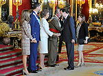 Princess Letizia of Spain, Prince Felipe of Spain, Queen Sofia of Spain, Juan Carlos I King of Spain, Mariano Rajoy President of the Government of Spain with his wife Elvira Fernandez Balboa attend the Royal Palace reception on the National Military Parade.October 12,2012.(ALTERPHOTOS/Pool)