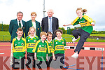 Ciara Walsh Castleisland preparing for the for the 2008 Denny Kerry Community Games Athletics Finals which will be held in An Riocht athletic track Castleisland on the 15th and 16th June watching are front row l-r: Shane Flavine Tralee, Maura O'Connell Abbeydourney, Tommy Dennehy Currow, Darragh Curtin Knocknagoshel, Aisling O'Connell Castleisland. Back row: Jim Turner Chairperson KCG, Margaret Curly KCG Secretary and Frank Hayes Director of Corporate Affairs Kerry Group   Copyright Kerry's Eye 2008