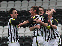 Thomas Reilly celebrates his goal with (l to r) Anton Brady, Lewis McLear and Adam Brown in the St Mirren v Celtic Scottish Professional Football League Under 20 match played at St Mirren Park, Paisley on 30.4.14.