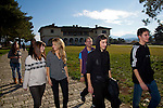 Greek students (from left): Agathi Sideri,17, Ersi Kyrochristou,17, Christos Dimitriadis,18, Dinos Athanasiou,18, and Konstantinos Vartziotis,18, relax from their lessons near by the Ioannina lake.