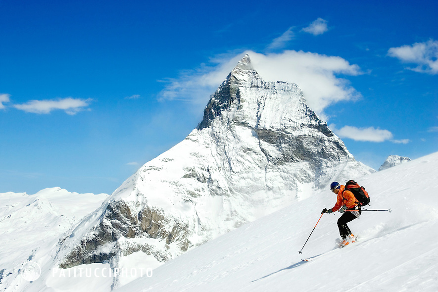 Descending to Zermatt with the Matterhorn above on the last day of the Haute Route. Switzerland