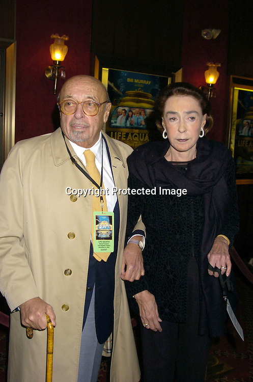 """Ahmet Ertegun and Mica..at The World Premiere of """"The Life Aquatic with Steve Zissou""""  on December 9, 2004 at The Ziegfeld Theatre. ..Photo by Robin Platzer, Twin Images"""