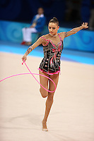 August 23, 2008; Beijing, China; Rhythmic gymnast Evgenia Kanaeva of Russia performs with rope on way to winning gold in the All-Around final at 2008 Beijing Olympics..(©) Copyright 2008 Tom Theobald