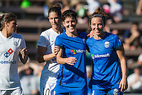 Seattle, WA - Sunday, May 1, 2016: Seattle Reign FC midfielder Keelin Winters (11) and defender Rachel Corsie (4) during a National Women's Soccer League (NWSL) match at Memorial Stadium. Seattle won 1-0.