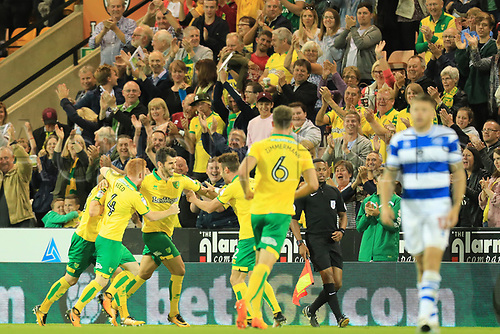 August 16th 2017, Carrow Road, Norwich, England; EFL Championship Football, Norwich City versus Queens Park Rangers; Nelson Oliveira of Norwich City celebrates after scoring as he makes it 1-0