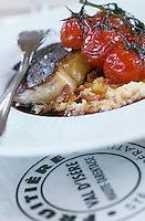 Europe/France/73/Savoie/Val d Isere: Polenta à l 'escalope de foie gras poellé et tomates confites  recette du chalet d altitude la Folie Douce self et La Fruitiere restaurant -établissement de Luc Reversade