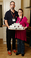 "BNPS.co.uk (01202 558833)<br /> Pic: BNPS<br /> <br /> Pictured: Luke Bird and Rebecca Hobby - ""The meals are cooked in their own homes and refrigerated and then brought to our home. We put them in the oven to get them hot and then put the food in takeaway boxes and hand them out at the library with plastic cutlery'.<br /> <br /> Volunteers who serve homeless people with hot meals cooked in their own homes have been shut down by council bureaucrats.<br /> <br /> The group of public-spirited cooks were told they had to have a food hygiene certificate before they could hand out the free food to starving people.<br /> <br /> They claim they were even threatened with prosecution by a police officer if they didn't do as they were told.<br /> <br /> The service has been run by Luke Bird and Rebecca Hobby every Monday and Friday lunchtime for the last four years in Dorchester, Dorset, with no complaints."