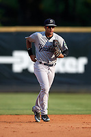 Pulaski Yankees center fielder Everson Pereira (38) jogs back to the dugout during a game against the Greeneville Reds on July 27, 2018 at Pioneer Park in Tusculum, Tennessee.  Greeneville defeated Pulaski 3-2.  (Mike Janes/Four Seam Images)
