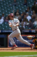 Conor McKenna (5) of the Oklahoma Sooners follows through on his swing against the Missouri Tigers in game four of the 2020 Shriners Hospitals for Children College Classic at Minute Maid Park on February 29, 2020 in Houston, Texas. The Tigers defeated the Sooners 8-7. (Brian Westerholt/Four Seam Images)