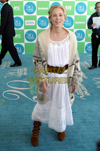 MARIA BELLO.20th Annual IFP Independent Spirit Awards held on Santa Monica Beach. .February 26th, 2005.Photo credit: Jacqui Wong/AdMedia.full length brown belt brown cream sweater cardiagn white cotton dress brown boots.www.capitalpictures.com.sales@capitalpictures.com.© Capital Pictures.