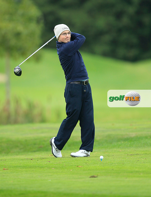 Conor Deegan (Dun Laoghaire G.C) on the 15th tee  during Round 3 of The Cassidy Golf 103rd Irish PGA Championship in Roganstown Golf Club on Saturday 12th October 2013.<br /> Picture:  Thos Caffrey / www.golffile.ie