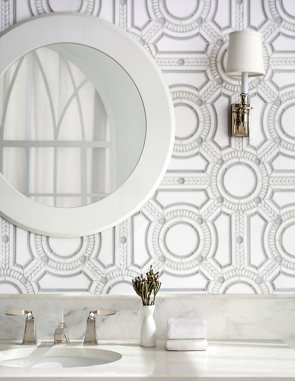 Augustus, a stone and glass waterjet mosaic, shown in Thassos honed, Thassos polished, and Tropical White glass.