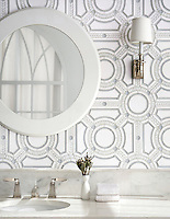 Augustus, a stone and glass waterjet mosaic, shown in Thassos honed, Thassos tumbled, and Tropical White glass.