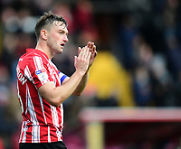 Lincoln City's Lee Frecklington applauds the fans at the final whistle<br /> <br /> Photographer Chris Vaughan/CameraSport<br /> <br /> The EFL Sky Bet League Two - Lincoln City v Crewe Alexandra - Saturday 6th October 2018 - Sincil Bank - Lincoln<br /> <br /> World Copyright &copy; 2018 CameraSport. All rights reserved. 43 Linden Ave. Countesthorpe. Leicester. England. LE8 5PG - Tel: +44 (0) 116 277 4147 - admin@camerasport.com - www.camerasport.com