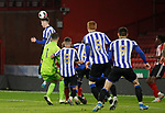 Michael Verrips of Sheffield Utd goes up for a corner in the lasts seconds of the game during the Professional Development League match at Bramall Lane, Sheffield. Picture date: 26th November 2019. Picture credit should read: Simon Bellis/Sportimage