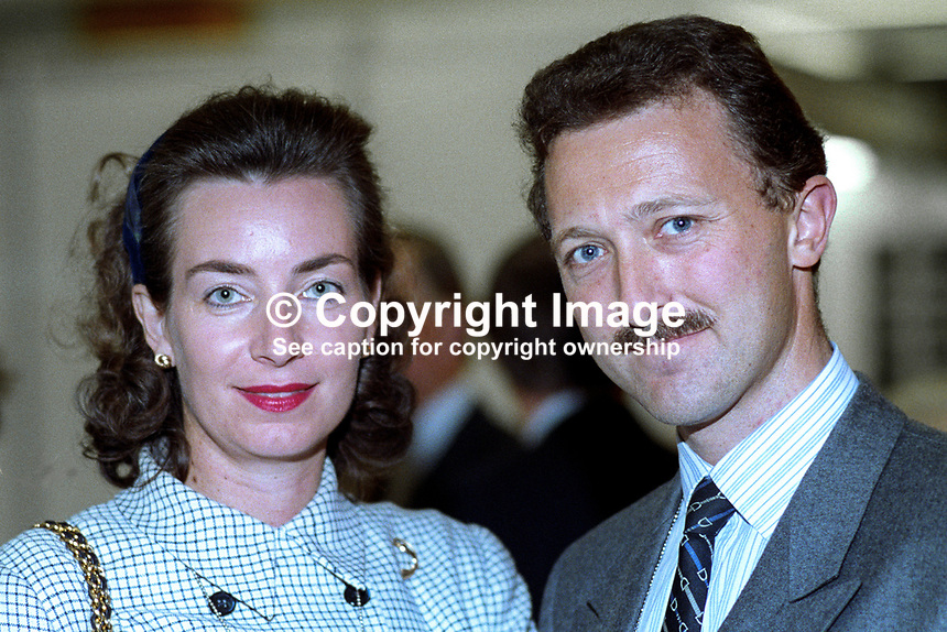 Andrew Hargreaves, MP, Conservative Party, UK, politician, with wife at annual conference, 1992. 19921065AH+W.<br />