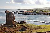 EASTER ISLAND, CHILE, Isla de Pascua, Rapa Nui, a Moai statue near the Caleta Hanga Roa Harbor