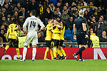 Borussia Dortmund Ousmane Cembele, Pierre Aubameyang, Sokratis Papastathoppulos, Real Madrid's Carlos Henrique Casemiro  during Champions League match between Real Madrid and Borussia Dortmund  at Santiago Bernabeu Stadium in Madrid , Spain. December 07, 2016. (ALTERPHOTOS/Rodrigo Jimenez)