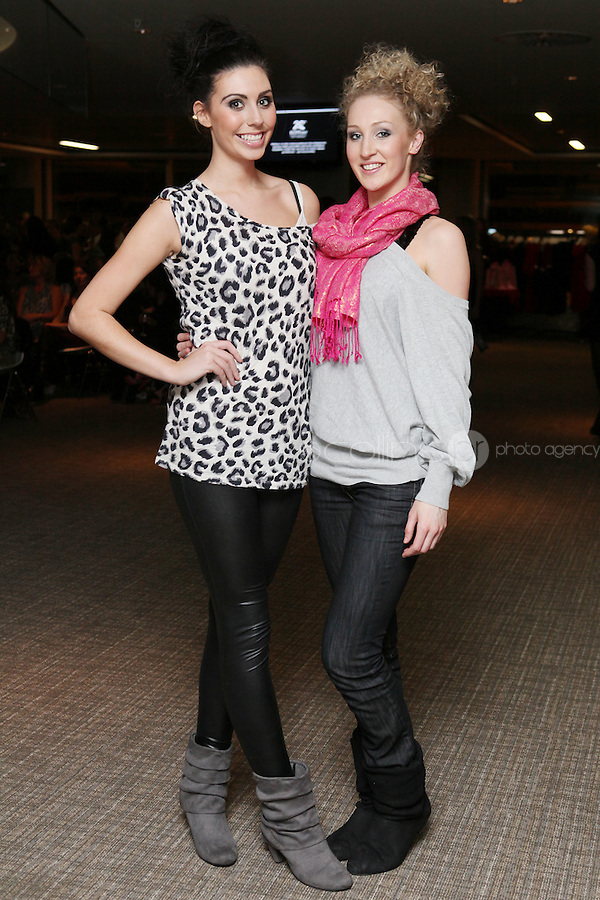 NO FEE 14/10/2010.  Bóthar's Rugby Rocks Fashion.  Alice Carroll and Emma Carey are pictured at Bóthar's Rugby Rocks Fashion fundraising event at the Aviva Stadium in Dublin on Thursday night were {insert names here}. All proceeds from the event go towards Bóthar's projects in Pakistan. To find out more about Bóthar's work in Pakistan or in any of the 35 project countries Bóthar works in, lo-call 1850 82 99 99 or visit www.bothar.org. Picture James Horan/Colllins Photos
