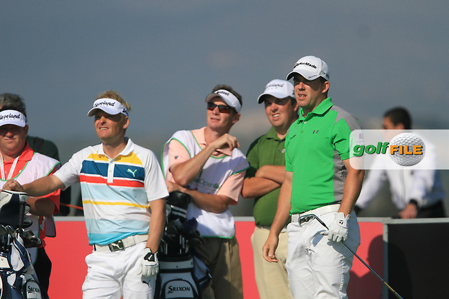 Richie Ramsay (SCO) watches his drive o the 16th as Soren Kjeldsen (DEN) and Shane Lowry (IRL) look on,  on Day 2 of the 2012 Sicilian Open at Verdura Golf and Spa Resort, Sicily, Italy...(Photo Jenny Matthews/www.golffile.ie)