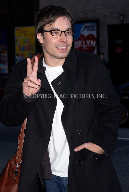 WWW.ACEPIXS.COM . . . . . ....NEW YORK, MARCH 15, 2005....Jimmy Fallon arrives for an appearance on The Late Show with David Letterman.....Please byline: KRISTIN CALLAHAN - ACE PICTURES.. . . . . . ..Ace Pictures, Inc:  ..Philip Vaughan (646) 769-0430..e-mail: info@acepixs.com..web: http://www.acepixs.com