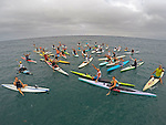 SAN DIEGO, CA - JUNE 27:  Paddlers take to the water in support of legendary surfboard and paddleboard shaper Mike Eaton on June 27, 2015 in Mission Bay, California. (Photo Credit: Donald Miralle)
