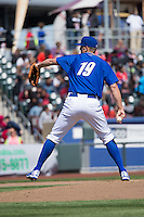 Christian Binford (19) of the Omaha Storm Chasers delivers a pitch to the plate against the Memphis Redbirds in Pacific Coast League action at Werner Park on April 22, 2015 in Papillion, Nebraska.  (Stephen Smith/Four Seam Images)