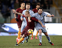 Calcio, ottavi di finale di Tim Cup: Roma vs Sampdoria. Roma, stadio Olimpico, 19 gennaio 2017.<br /> Roma's Radja Nainggolan, left, and Sampdoria's Luca Cigarini fight for the ball during the Italian Cup round of 16 football match between Roma and Sampdoria at Rome's Olympic stadium, 19 January 2017.<br /> UPDATE IMAGES PRESS/Isabella Bonotto