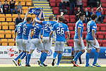 St Johnstone v Hearts…17.09.16.. McDiarmid Park  SPFL<br />The players celebrates Graham Cummins goal by holding up Dave Mackay's shirt<br />Picture by Graeme Hart.<br />Copyright Perthshire Picture Agency<br />Tel: 01738 623350  Mobile: 07990 594431