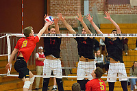 STANFORD, CA - January 2, 2018: Eli Wopat, Kevin Rakestraw, JP Reilly at Burnham Pavilion. The Stanford Cardinal defeated the Calgary Dinos 3-1.