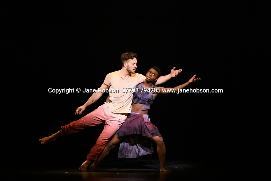 London, UK. 19.02.2020. Sadler's Wells and Universal Music UK present MESSAGE IN A BOTTLE, a new dance theatre production by Sadler's Wells Associate Artist, Kate Prince, set to the music of 17-time Grammy Award-winning artist, Sting. Picture shows: Lukas McFarlane & Nafisah Baba. Photograph © Jane Hobson.