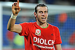 UEFA EURO 2016 Qualifier match between Wales and Andorra at Cardiff City Stadium in Cardiff : Gareth Bale celebrating at full time.