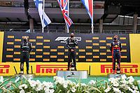 12th July 2020; Styria, Austria; FIA Formula One World Championship 2020, Grand Prix of Styria race day; FIA Formula One World Championship 2020, Grand Prix of Styria,  77 Valtteri Bottas FIN, Mercedes-AMG Petronas Formula One Team, 44 Lewis Hamilton GBR, Mercedes-AMG Petronas Formula One Team, 33 Max Verstappen NLD, Aston Martin Red Bull Racing on the winners podium