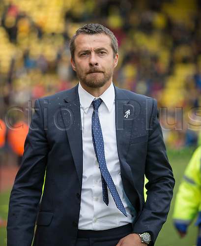02.05.2015.  Watford, England. Skybet Championship. Watford versus Sheffield Wednesday. Slaviša Jokanović, the Watford manager at the final whistle.