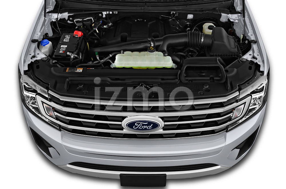 Car Stock 2019 Ford Expedition XLT 5 Door SUV Engine  high angle detail view