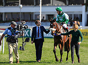 14h April 2018, Aintree Racecourse, Liverpool, England; The 2018 Grand National horse racing festival sponsored by Randox Health, day 3; Richard Johnson on Thomas Patrick after winning The Betway Handicap Steeple Chase