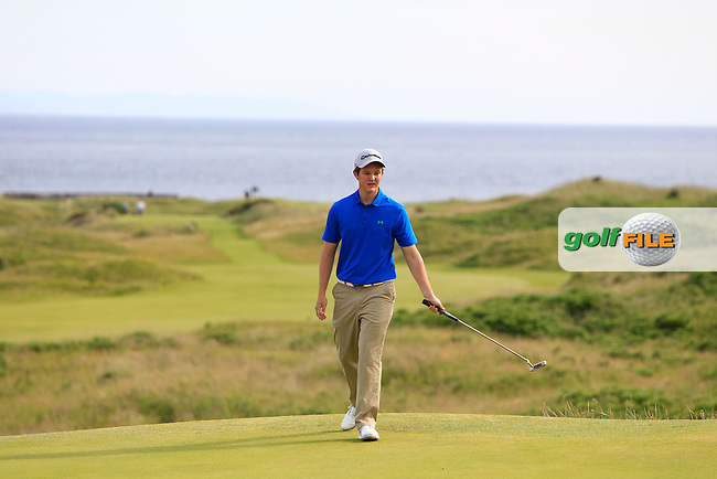 John-Ross Galbraith (Whitehead) on the 3rd green during Round 3 Matchplay of the North of Ireland Amateur Open Championship at Royal Portrush, Dunluce Course on Thursday 16th July 2015.<br /> Picture:  Golffile | Thos Caffrey