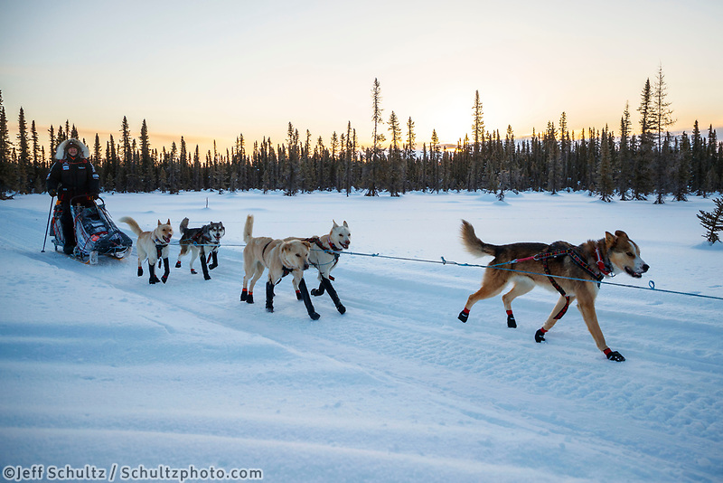 Allen Moore runs on the trail after leaving the Kaltag checkpoint during the 2017 Iditarod on Monday morning March 12, 2017.<br /> <br /> Photo by Jeff Schultz/SchultzPhoto.com  (C) 2017  ALL RIGHTS RESERVED